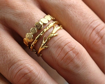 Valentines Day Sale Gold Pebble Raw Twig Ring Set|  Stacking Rings Set| Vermeil Rings