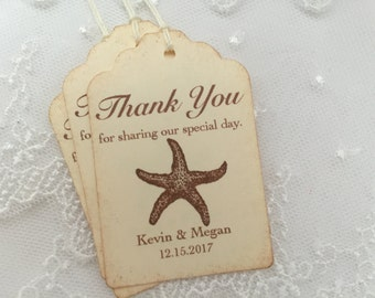 Starfish Tags Beach Wedding Favor Tags Personalized