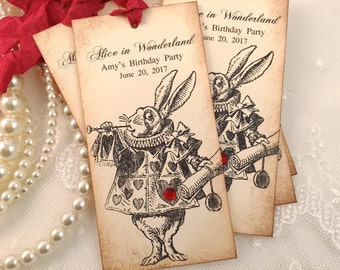 Alice in Wonderland Tags Personalized Favor Tags White Rabbit Set of 10