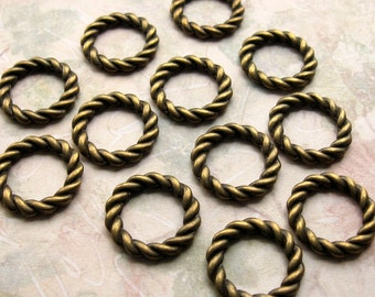 Bronze Linking Rings 20mm - 12 Pieces - Antique Bronze Braided Style Rings, Circle Charms, Connector Rings, Lead Free, Nickle Free (GFD0027)