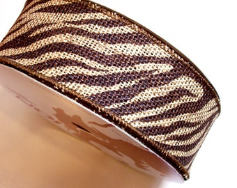 Tiger Stripe Ribbon, Jute Burlap Wired Fabric Ribbon 2 1/2 inches wide x 25 yards, Full Bolt of Lion Brand Bengal Ribbon