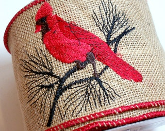 Red Cardinal Ribbon, Offray Cardinal Wired Fabric Ribbon 4 inches wide x 10 yards, Full Bolt