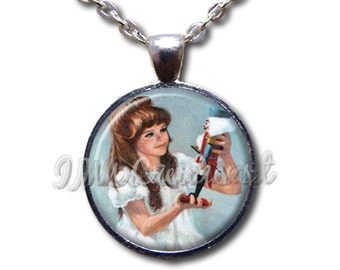 Nutcracker Claire - Round Glass Dome Pendant or with Necklace by IMCreations -   BA108
