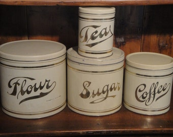Old Tin Canister Set | Vintage White Canister Set | Antique Gold Lettered Canister Set