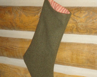 Old Wool Army Blanket Christmas Stocking | Repurposed Wool Christmas Stocking | Listing Is For 1 Stocking