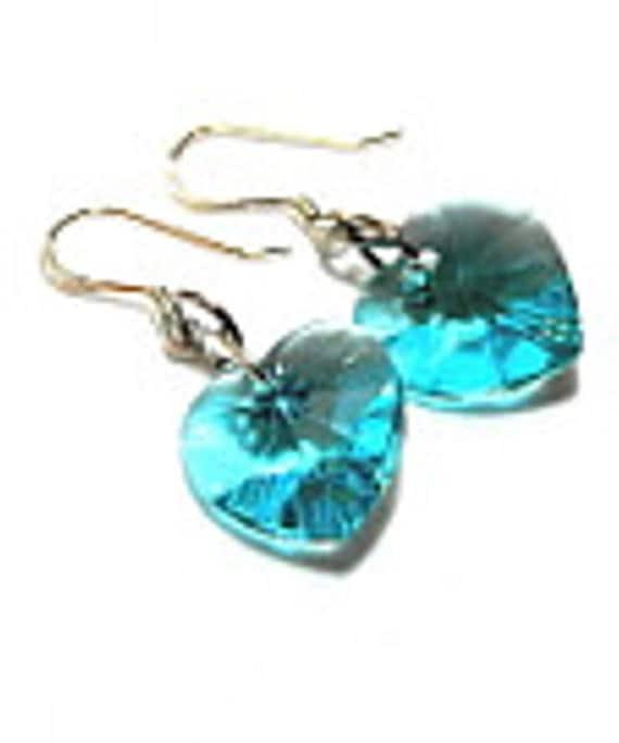 SALE. Turquoise Swarovski Crystal Heart Drop Earrings