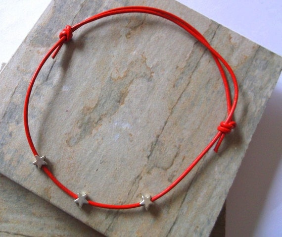 SUMMER SALE. Red Leather and Silver Star Anklet