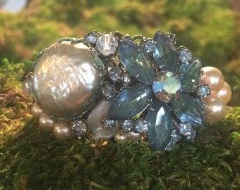 Mermaid - assemblage collage cuff vintage rhinestone pearl aqua blue water shell ocean fantasy wave fin
