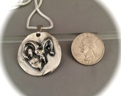 Majestic Ram, Big Horn Sheep Pendant, Recycled silver