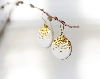 Midnight Kiss - Gold Porcelain White Dangle Earrings - Ceramic Earrings, 22k gold with 14k gold filled french ear wires