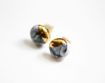 22k Gold Dipped Marbled Porcelain Studs - Marble Stud Earrings, Porcelain Jewelry - 14k gold filled posts, Sensitive Ears