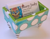Business Card Holder pottery dish :) turquoise, lime green with polka dots, black & white striped legs