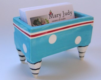 colorful pottery Business Card Holder :) Turquoise Blue with white polka-dots & cherry Red, striped legs ceramics