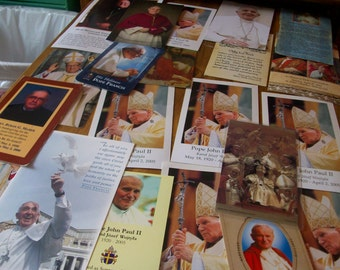 lot of 21 Catholic Holy Men Prayer Cards Popes,Bishops, Priests