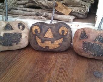 Primitive Halloween pumpkins JOLs.  Awesome