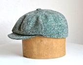 Newsboy Hat - Men's Green Tweed Newsboy Cap - Made to Order