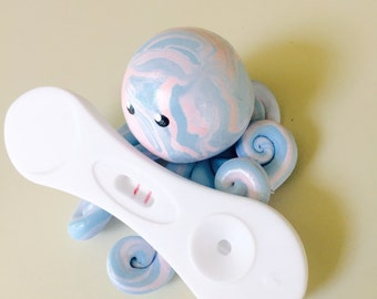 We are Pregnant  Little Octopus Mini Marble Friend in Powder Pink and Blue Baby Announcement Favor Gender Reveal Party Shower or Photo Prop