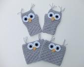 Crocheted Fingerless Owl Gloves and Boot Cuffs, Women's Fingerless Gloves and Boot Cuffs, Ready to Ship