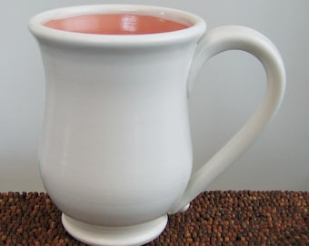 SECONDS Large Pink Pottery Coffee Mug - Stoneware Coral Cup 16 oz.