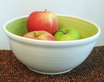 Fruit Bowl - Large Pottery Bowl - Salad  Bowl Stoneware Ceramic Serving Bowl Lime Green
