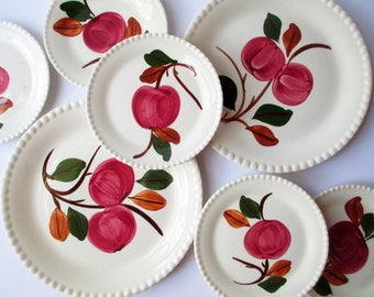 Vintage Blue Ridge South Potteries Red Green Apple Plates Set of Seven