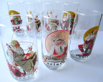 Vintage Christmas Norman Rockwell Cola Glass Tumbler Set of Seven