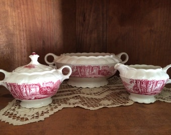 Taylor Smith Taylor Red Castles Transfer Ware Sugar Bowl Creamer Tureen