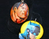 Superman or Batman Decoupaged Pendant Recycled Comic Book Images