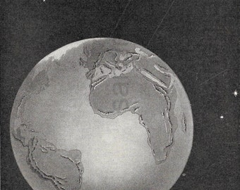 1918 The Earth and The Moon in Space Vintage Illustration to Frame