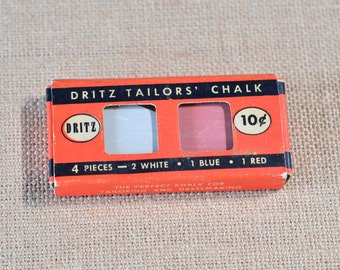 Dritz Tailors' Chalk in Original Box - Vintage Sewing Tools and Supplies c. 1949 - Sewing Notions - Craft Room Decor - John Dritz and Sons