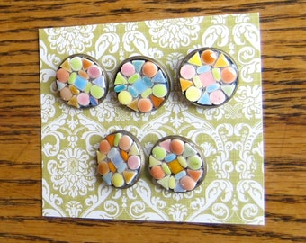 Mosaic Buttons. Five Springtime Buttons. Tiny Tile Buttons. Shank Buttons. Light Blue, Orange, Coral, Lime Green, Yellow, Pink Buttons