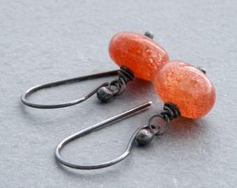Sunstone Earrings, Orange Gemstone Earrings, Sunstone Jewelry, Orange Gemstone, Dangle Earrings, Orange Earrings, Sterling Silver,  #3583