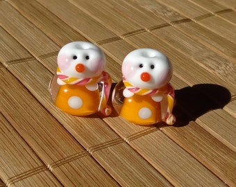 Little Snowman Set Dotted Pair in Orange--Handmade LAMPWORK Beads
