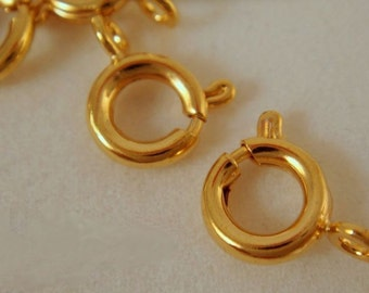 25 Gold Spring Ring Clasp Springring Plated Brass 7mm - 25 pc - 1865-7