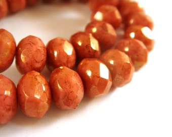 10 Czech Pink Coral Rondelle Opaque Pink Picasso Abacus Beads 8x6mm - 10 pc -  G6041-PKC10