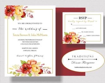 AUTUMN WEDDING INVITATION Suite, Rustic Fall Wedding Invitation Suite, Beautiful Fall Floral Watercolor, Shabby Chic Burgundy, Gold, Peach