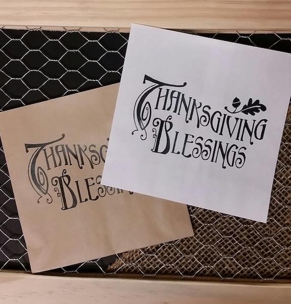 Thanksgiving Blessings FAVOR BAG utensil holder napkin holder