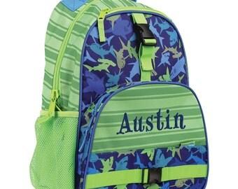 Personalized Backpack Sharks, Stephen Joseph Bookbag, Monogrammed, Elementary school backpack