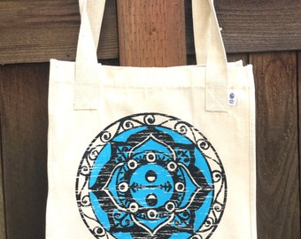 INTRODUCTORY PRICING Balance Mandala ROOMY Organic Cotton Tote Hand Drawn Mandala Great for Yoga Lovers, Artists, Photographers, Students