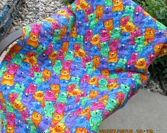 Here Kitty Kitty crib quilt - cotton flannel