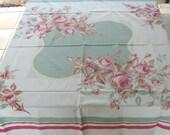 celadon rose tablecloth  . retro rose tablecloth . pink roses . retro tablecloth . cabbage rose tablecloth . square tablecloth