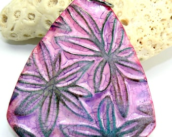 Polymer clay Handmadefaux ceramic flower pendant, 49mm, antiqued aged worn rustic, jewelry component