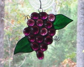 Stained Glass Suncatcher - Purple Grapes with Dark Green Leaves