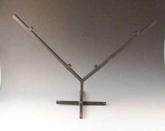 """Black Powder Coat Metal Stand to Hold a Square Stained Glass or Fused Glass Panel- V Stand - 12"""""""