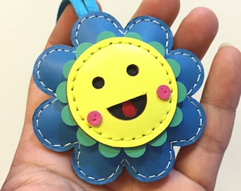 Leatherprince sunflower leather charm ( Blue )