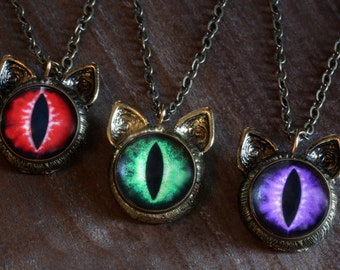One eyed cat eye pendant - Choose your color