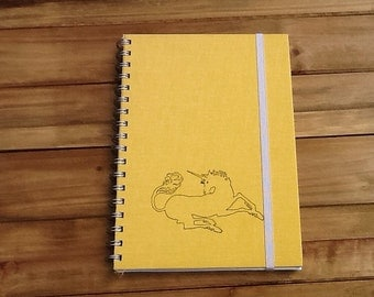Unicorn Notebook / Recycled Yellow Notebook Book Journal