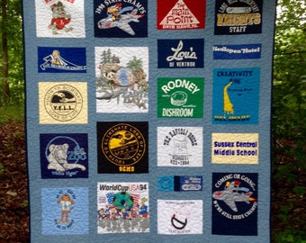 t-shirt quilt, college dorm quilt, memory quilt,  nap quilt, lap quilt, dorm room quilt, twin quilt, twinXL quilt .....Made to order