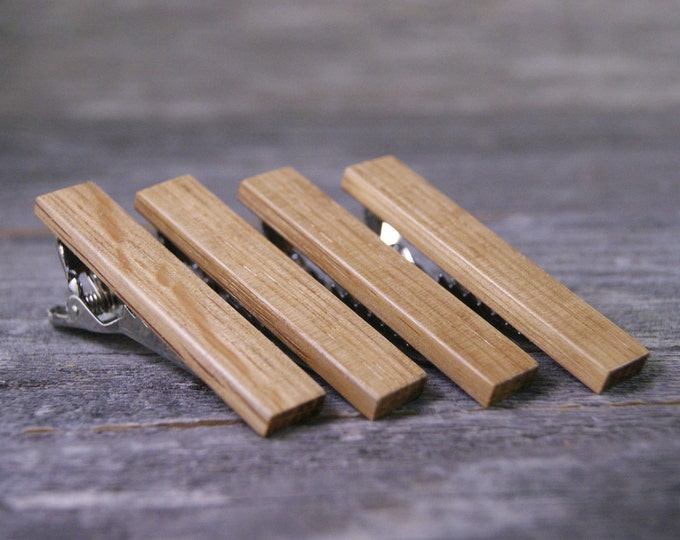 Groomsmen tie clip set crafted from a Whiskey Barrel - Free Engraving Available!