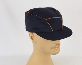 1950s Navy Blue Ball Cap with Ear Flaps Sz 7 NOS